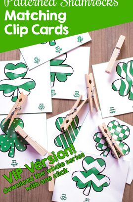 Patterned Shamrocks Matching Clip Cards