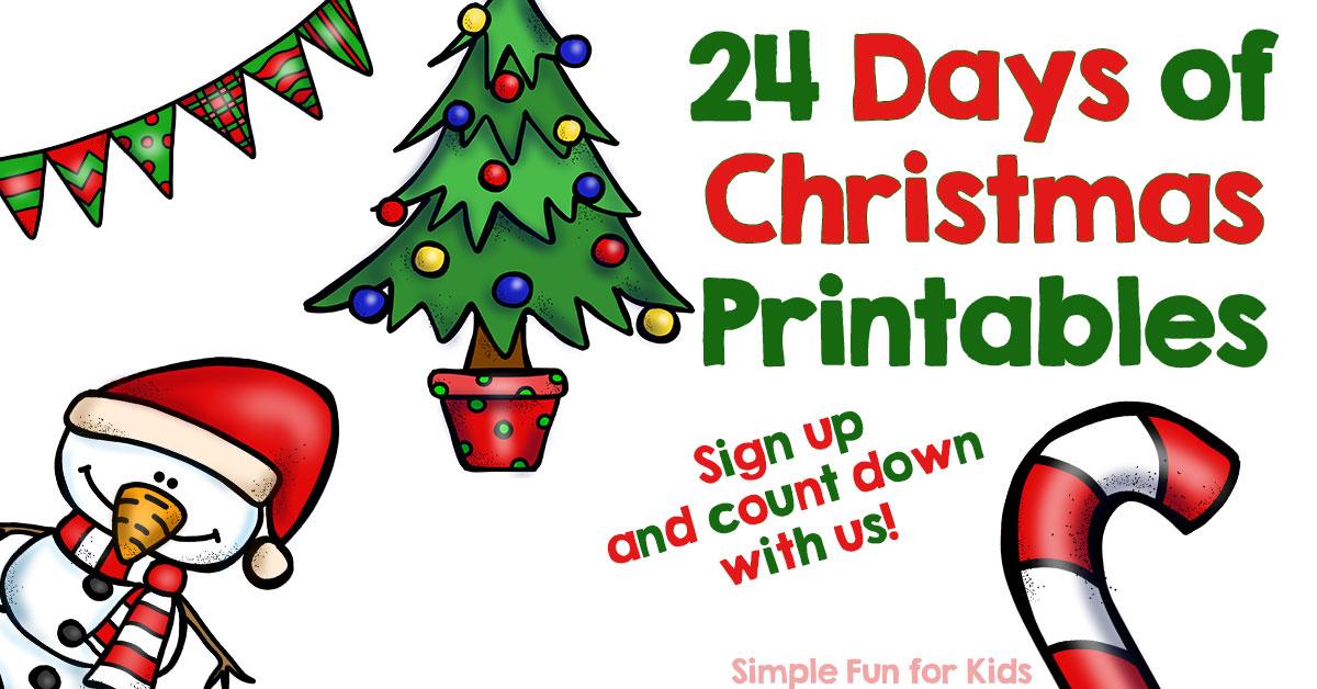 Advent Calendar 24 Days Of Christmas Printables Simple