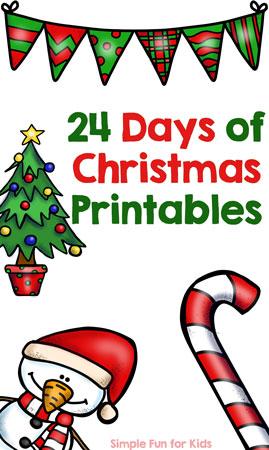 advent calendar 24 days of christmas printables