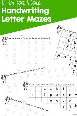 C is for Cow Handwriting Letter Mazes