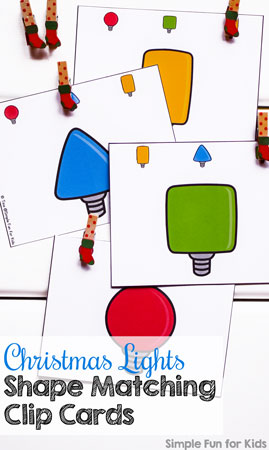 Practice basic shape (and color!) recognition with these fun Christmas Lights Shape Matching Clip Cards! (Day 11 of 24 Days of Christmas Printables for Toddlers.)