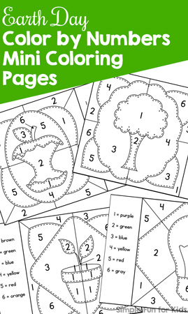 Celebrate Earth Day in a fun educational way with these printable Earth Day Color by Numbers Mini Coloring Pages! Perfect for preschoolers and kindergarteners practicing number recognition 1-6 and great for busy bags.