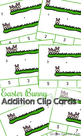 Easter Bunny Addition Clip Cards