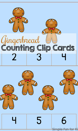 Gingerbread Counting Clip Cards