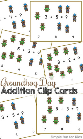 Practice basic math facts and fine motor skills with these cute printable Groundhog Day Addition Clip Cards! Includes addition facts up to 10, just right for kindergarteners. (Part of the 7 Days of Groundhog Day Printables for Kids series.)