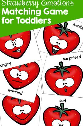 Strawberry Emotions Matching Game for Toddlers