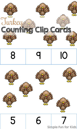 Turkey Counting Clip Cards (1-10)