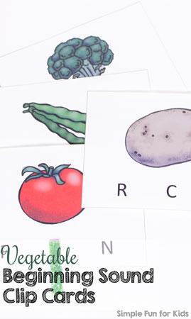 Vegetable Beginning Sound Clip Cards
