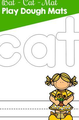Bat – Cat – Mat CVC Word Play Dough Mats