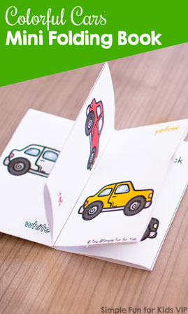 Does your toddler or preschooler love cars? Help him or her learn colors with this cute printable Colorful Cars Mini Folding Book! One sheet of paper, no duplex printing, minimal cutting - so easy to put together!