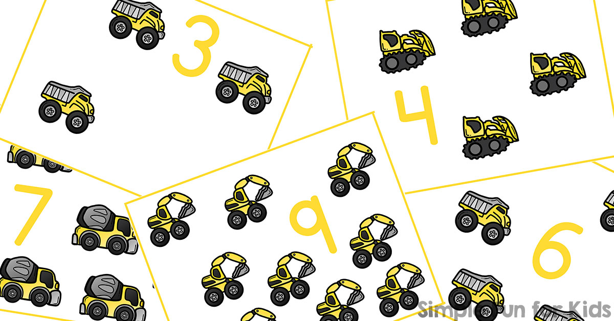Construction Vehicles Counting Cards