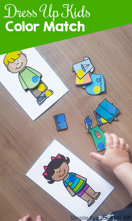 Practice colors with fun paper dolls using this cute printable Dress Up Kids Color Match! Yellow, blue, red, and green, perfect for toddlers and preschoolers.