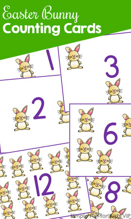 Practice counting and 1:1 correspondence with these cute printable Easter Bunny Counting Cards! My toddler loves them, but they're also great for preschoolers and kindergarteners – anyone who's just learning to count.