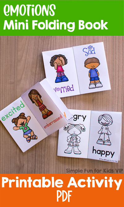 Learn about a range of different emotions with this cute printable Emotions Mini Folding Book! Four different versions in color and black and white, perfect for preschoolers and kindergarteners.