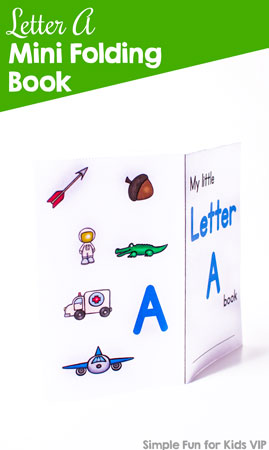 Explore the letter A with your toddler or preschooler using this cute, colorful, printable Letter A Mini Folding Book! (Includes a black and white version.)