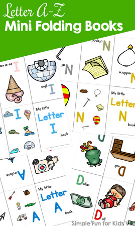 Here by popular demand: All of the Letter A-Z Mini Folding Books in one file for FREE for VIP members! Learn the alphabet with these simple, colorful books for toddlers, preschoolers, and kindergarteners.