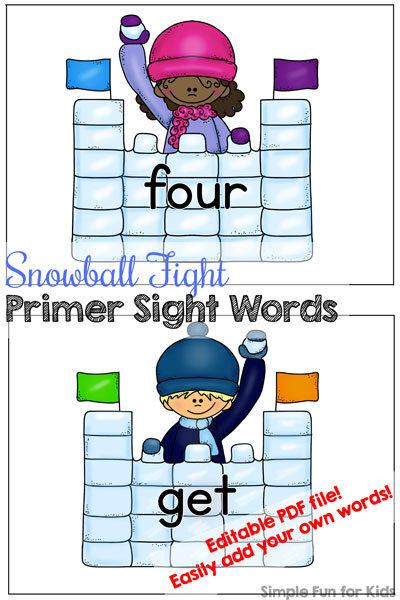Help your elementary student or kindergartener learn sight words with these Snowball Fight Primer Sight Words! All of the primer sight words are included as well as an editable page where you can add your own words. Perfect for sensory bins, flash cards, memory games, and more!
