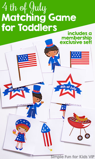This cute printable 4th of July Matching Game is perfect for little toddler and preschooler hands and attention spans. Play different levels of matching and memory games on all patriotic holidays. (One VIP membership exclusive set included!)