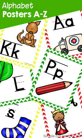 Alphabet Posters A-Z: Upper case, lower case, and mixed case versions! Perfect to hang on the wall in your toddler, preschool or kindergarten classroom. Or print several to a page and use the alphabet cards in a literacy center.