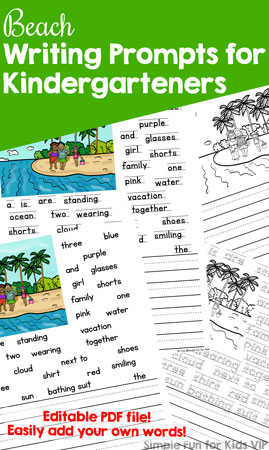 Get ready for summer and/or stop the summer slide with these cute, printable Beach Writing Prompts for Kindergarteners! Four versions in both color and black and white plus fully editable versions where you can easily enter your own words!