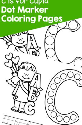 C is for Cupid Dot Marker Coloring Pages