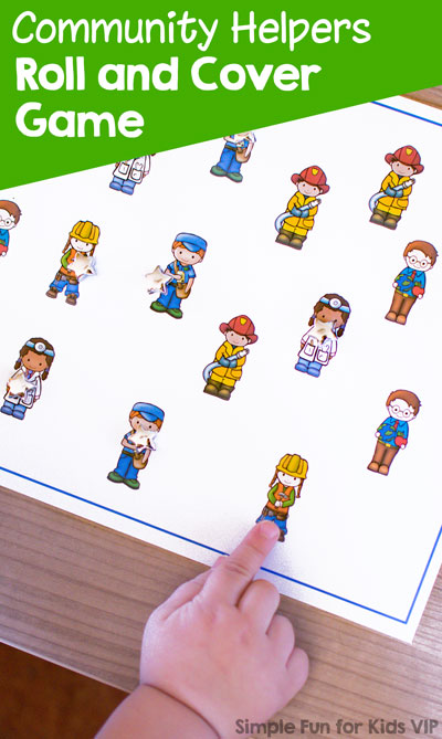 Play this simple printable Community Helpers Roll and Cover Game with your toddler or preschooler! Includes a custom die template to help work on visual discrimination, 1:1 correspondence, and more.