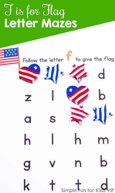 Learn and review letter F with this printable no-prep F is for Flag Letter Maze. Just right for anyone learning their letters, from toddlers to preschoolers and kindergarteners.