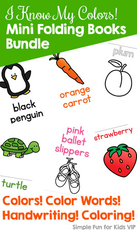 Learn all about colors with these cute, printable mini folding books! The I Know My Colors! Mini Folding Books Bundle includes 57 different books focusing on 11 colors: black, blue, brown, gray/grey, green, orange, pink, purple, red, white, and yellow. Read the books, color them, fill in the blanks with color words - there's something to do for toddlers, preschoolers, and kindergarteners!