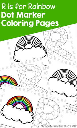 Learn letters with these cute, printable R is for Rainbow Dot Marker Coloring Pages! Perfect for a variety of skills, from coloring to dotting to tracing and even reading. For toddlers and preschoolers.