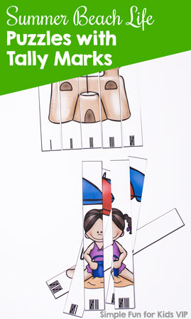 Does your kindergartener know how to count with tally marks? My daughter thinks they're really fun, and it's a useful skill to have in real life! Try these printable Summer Beach Life Puzzles with Tally Marks as an introduction to or review of the concept!