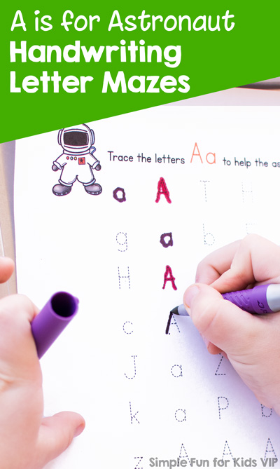 Printable letter mazes for kids who are ready for the next step after letter recognition: A is for Astronaut Handwriting Letter Mazes! Great for preschoolers and kindergarteners.