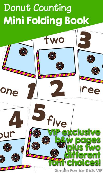 Have fun learning to count with this cute printable Donut Counting Mini Folding Book, perfect for preschoolers and kindergarteners!