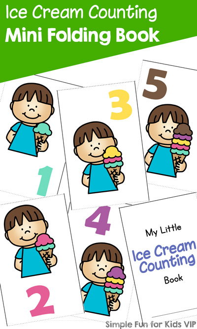Practice counting up to 7 with your preschooler or kindergartener with this cute printable Ice Cream Counting Mini Folding Book! Easy to assemble with minimal cutting and no staples or glue.
