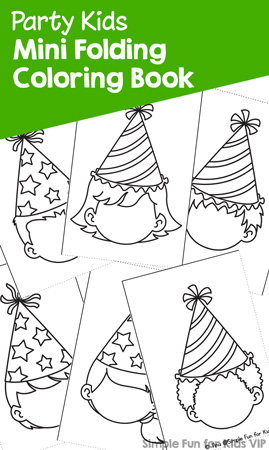 Color the blank faces and give them an expression! This printable Party Kids Mini Folding Coloring Book is fun for preschoolers and kindergarteners and even older kids.