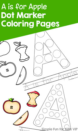 Study the letter A with this cute set of printable A is for Apple Dot Marker Coloring Pages. No prep, perfect for toddlers, preschoolers, and kindergarteners who are learning their alphabet.