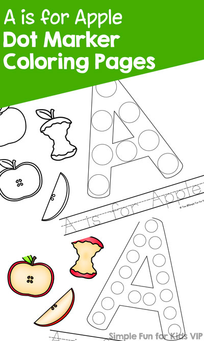 A Is For Apple Dot Marker Coloring Pages Simple Fun For Kids Vip