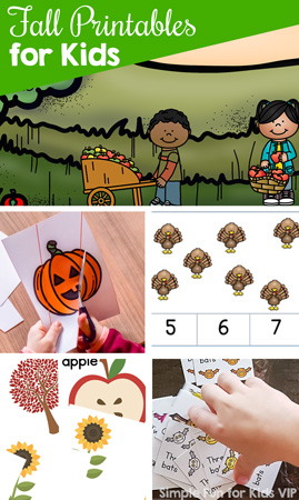 Have fun and learn with these 85+ cute fall printables for kids! There are many different math and literacy themes for toddlers, preschoolers, and kindergarteners. Includes games, clip cards, fine motor activities, and more!