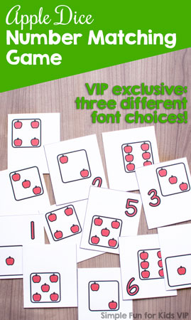 Practice number recognition with numerals and dice faces with this printable Apple Dice Number Matching Game! Perfect for toddlers and preschoolers with its limited number of matches. The VIP version includes three different font choices.