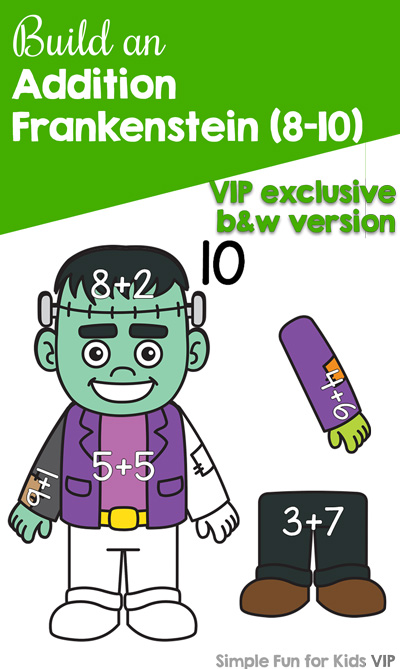 Practice addition with a Halloween theme and this cute printable Build an Addition Frankenstein (8-10) activity for kindergarteners. Perfect for math centers, home, and afterschooling. {Day 1 of the 7 Days of Halloween Printables for Kids.}