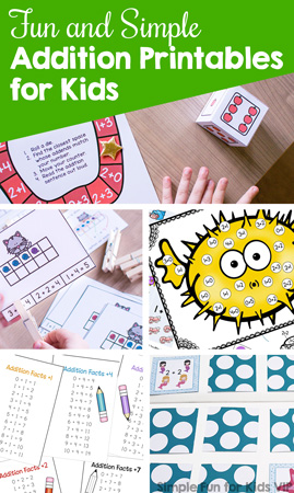 Learn and review addition facts with kindergarteners and first graders with these Fun and Simple Addition Printables for Kids! Clip cards, mini folding books, games, play dough, and more!
