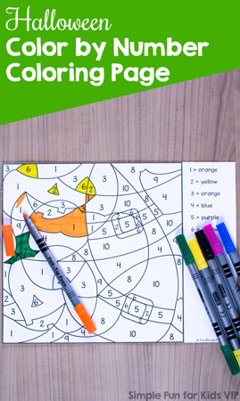Great for fine motor skills, practicing color sight words, and number recognition: Halloween Color by Number Coloring Page for preschool and kindergarten. {Part of the 7 Days of Halloween Printables for Kids series.}