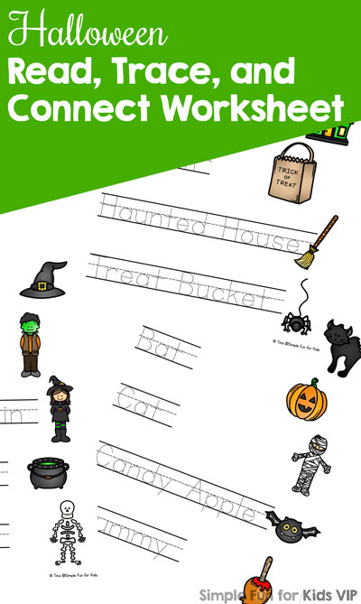 Halloween Read, Trace, and Connect Worksheets - Simple Fun for Kids VIP
