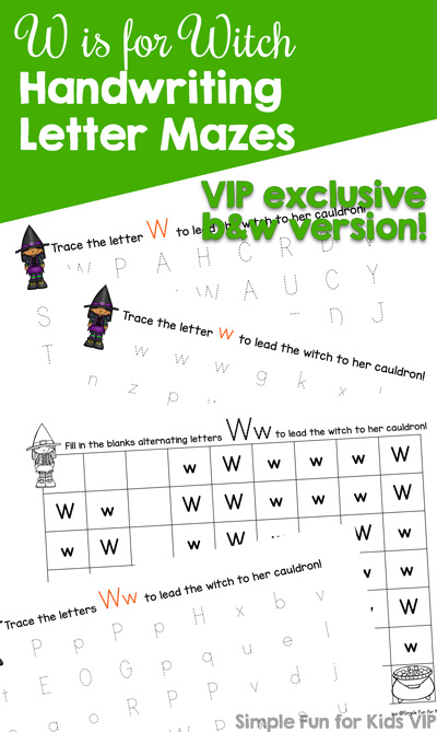 Practice writing the letter W with these super cute (not scary!) printable W is for Witch Handwriting Letter Mazes! Your preschoolers and kindergarteners will have fun helping the witch get to the cauldron. {Day 3 of the 7 Days of Halloween Printables.}