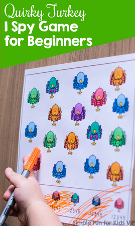 New to I spy games? Try this cute no prep Quirky Turkey I Spy Game for Beginners. Counting up to 5 and 1:1 correspondence. {Part of the 7 Days of Turkey Printables for Kids series.}