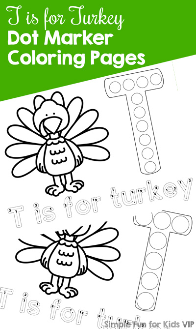 Explore the letter T with these cute, simple T is for Turkey Dot Marker Coloring Pages! Toddlers and preschoolers love them, and kindergarteners can use them for review. {Part of the 7 Days of Turkey Printables for Kids series.}