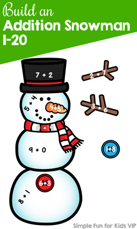 Practice addition and number bonds with kindergarteners and first graders and this cute printable Build an Addition Snowman 1-20 activity! Perfect for homeschool, afterschooling, and math centers.