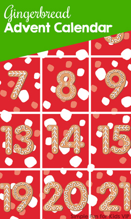 It's Day 1 of the 24 Days of Christmas Printables for Toddlers! Get started with this cute no-prep Gingerbread Advent Calendar and introduce your toddler to basic number recognition with a seasonal theme.