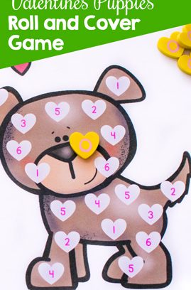 Valentine's Puppies Roll and Cover Game
