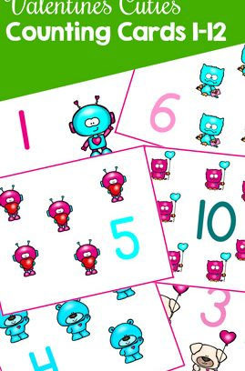 Valentine's Cuties Counting Cards 1-12