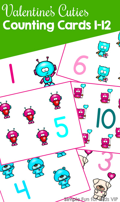 These cute printable Valentine's Cuties Counting Cards 1-12 are perfect for preschoolers who are learning to count. I use the first few numbers with my 2-year-old toddler, and he loves pointing out the images and putting manipulatives on each of them.